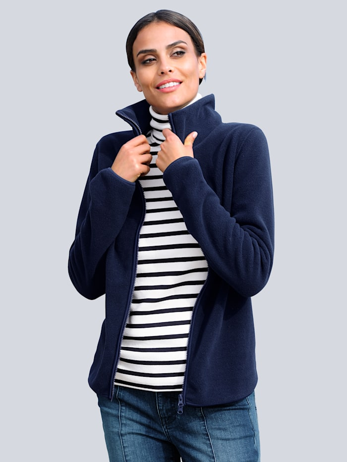 Alba Moda Fleece vest in sportief model, Marine