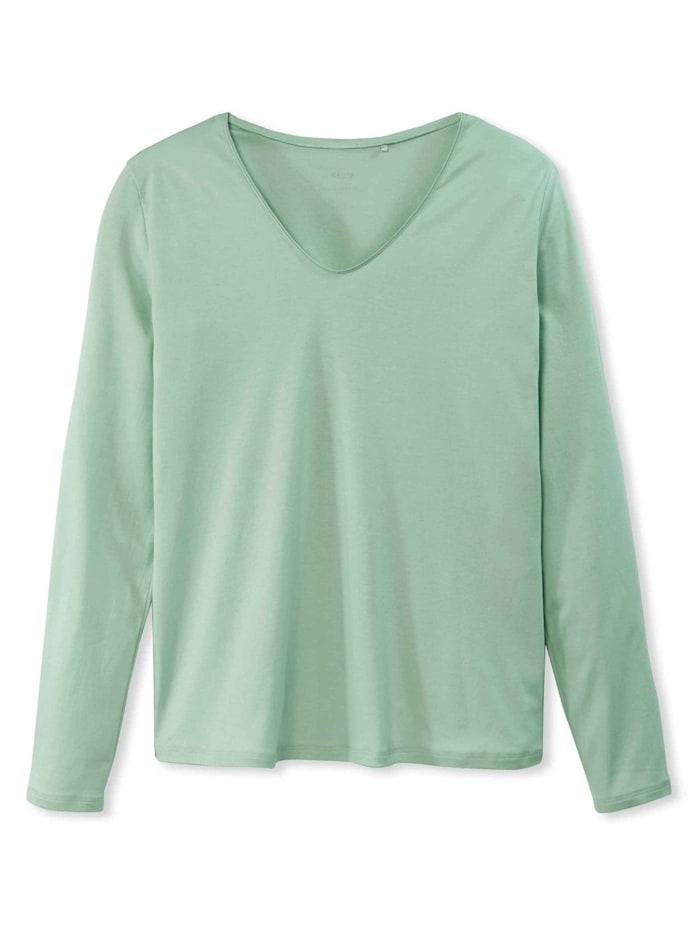 Calida Langarm-Shirt, V-Neck STANDARD 100 by OEKO-TEX zertifiziert, Harbour Mint