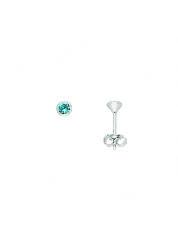 1001 Diamonds Damen Silberschmuck 925 Silber Ohrringe / Ohrstecker mit Zirkonia Ø 3 mm, grün