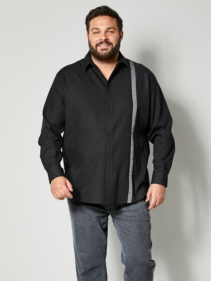 Men Plus Hemd aus reiner Baumwolle, Schwarz/Dunkelgrau