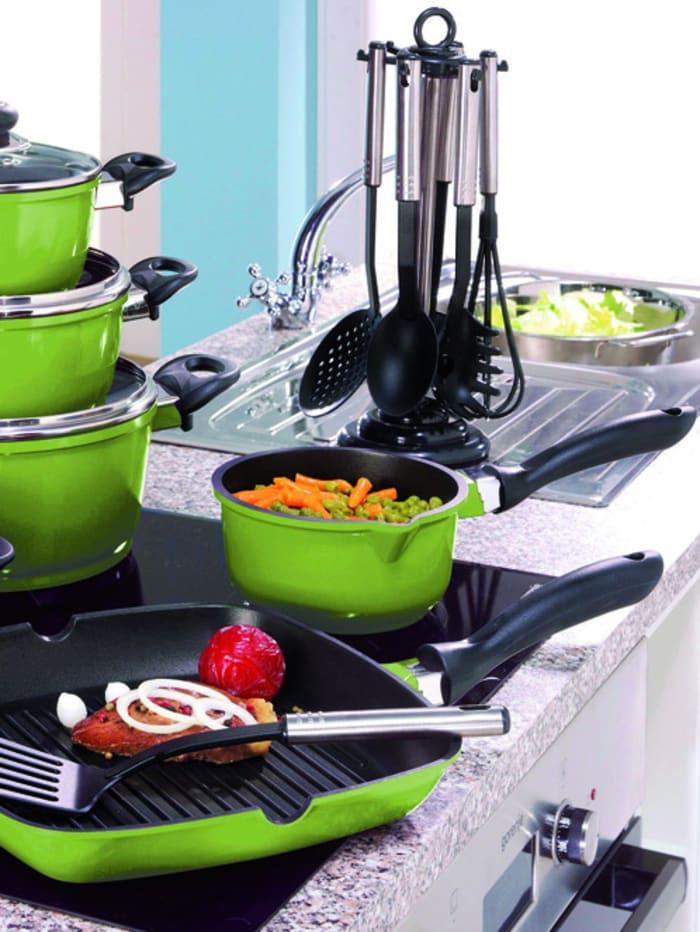 Set med grytor, stekpanna och köksredskap