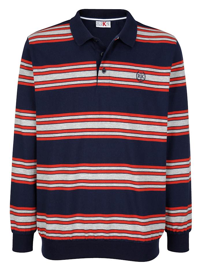 Roger Kent Sweatshirt mit Polokragen, Marineblau/Silbergrau/Rot