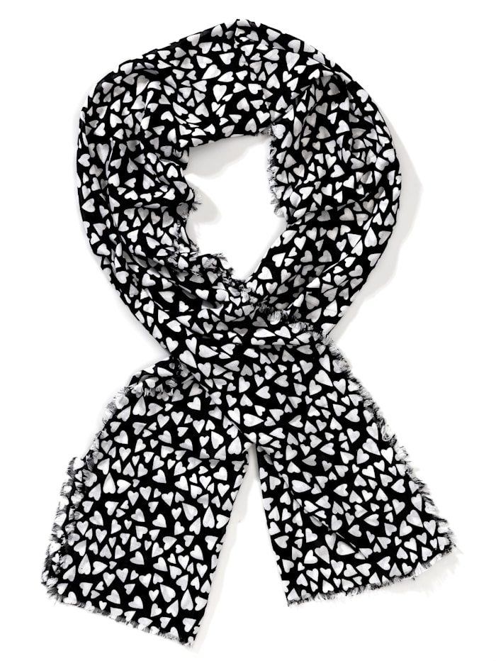 Alba Moda Schal mit Herzchen-Print, Schwarz/Weiß