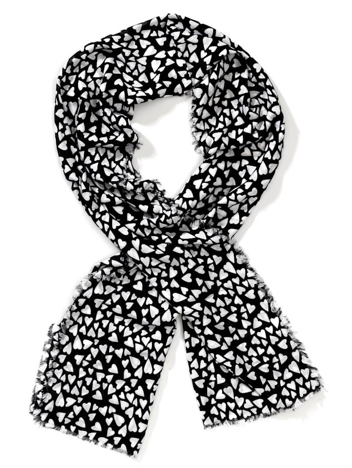Alba Moda Sjaaltje met hartjesprint, Zwart/Wit