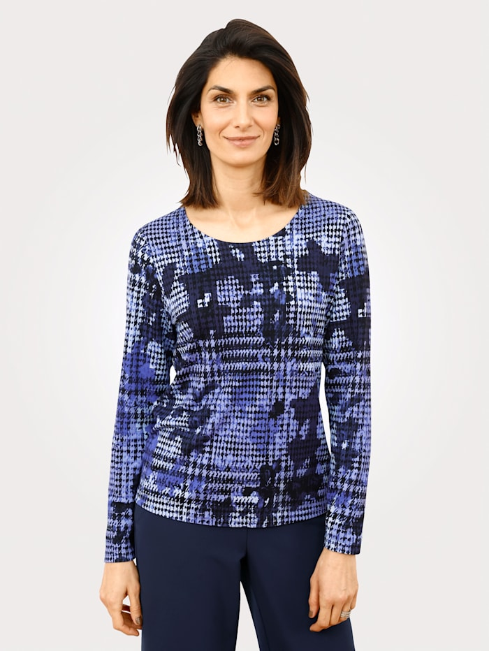 MONA Shirt met pied-de-pouledessin, Paars/Zwart