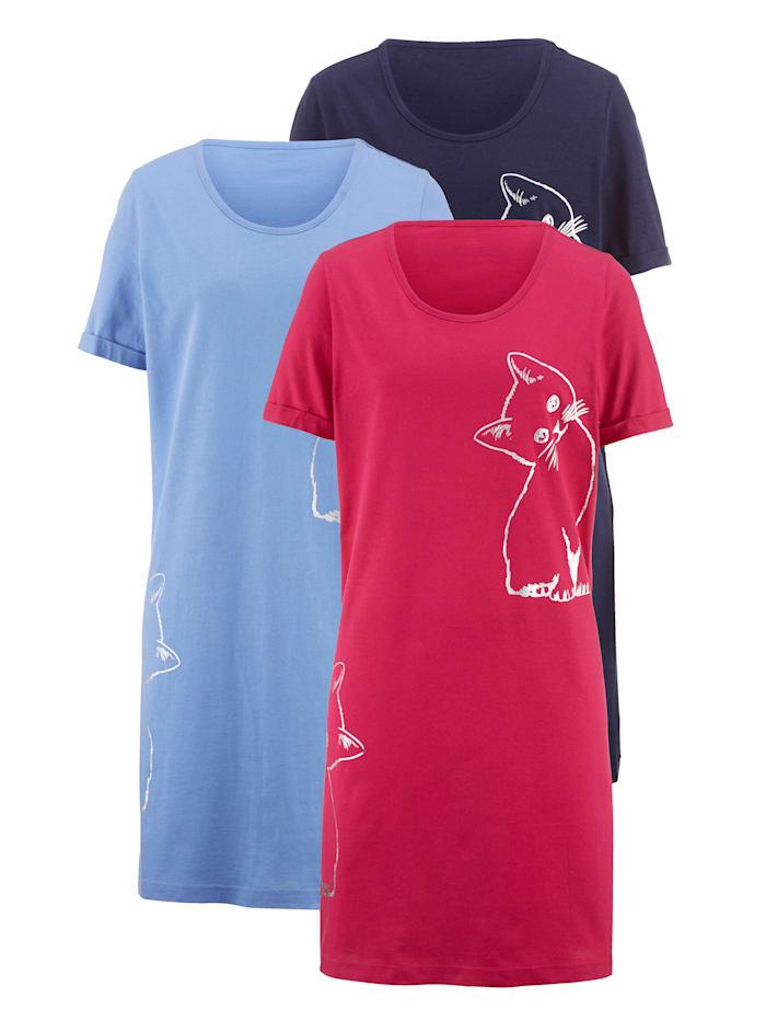 Nachthemd mit süßem Katzenmotiv 3er Pack