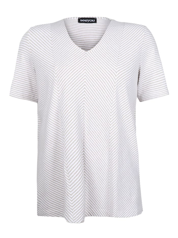 seeyou V-Shirt mit Diagonalstreifen ., Leinen