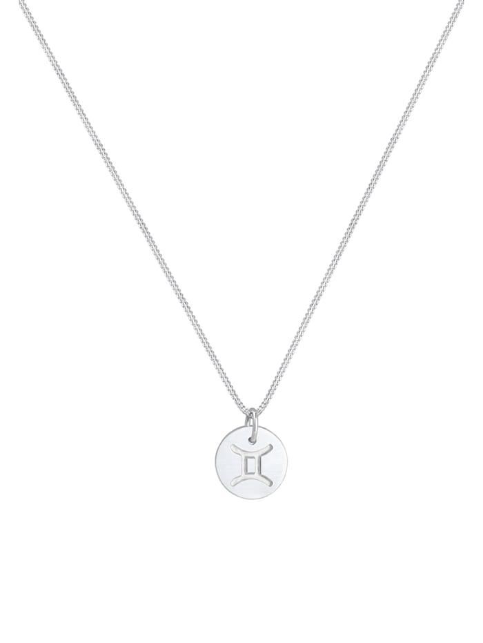 Halskette Sternzeichen Zwillinge Astro Symbol Matt Silber