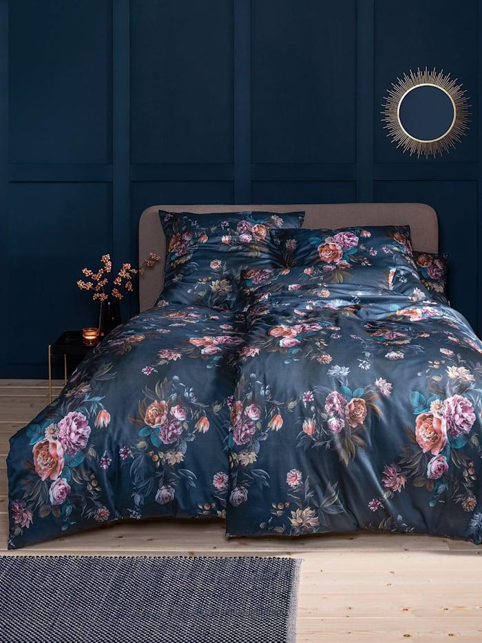 Estella Satin de Luxe Bettwäsche 'Grazia' 2tlg. + Gratis Kissenbezug 40x80 cm, nachtblau