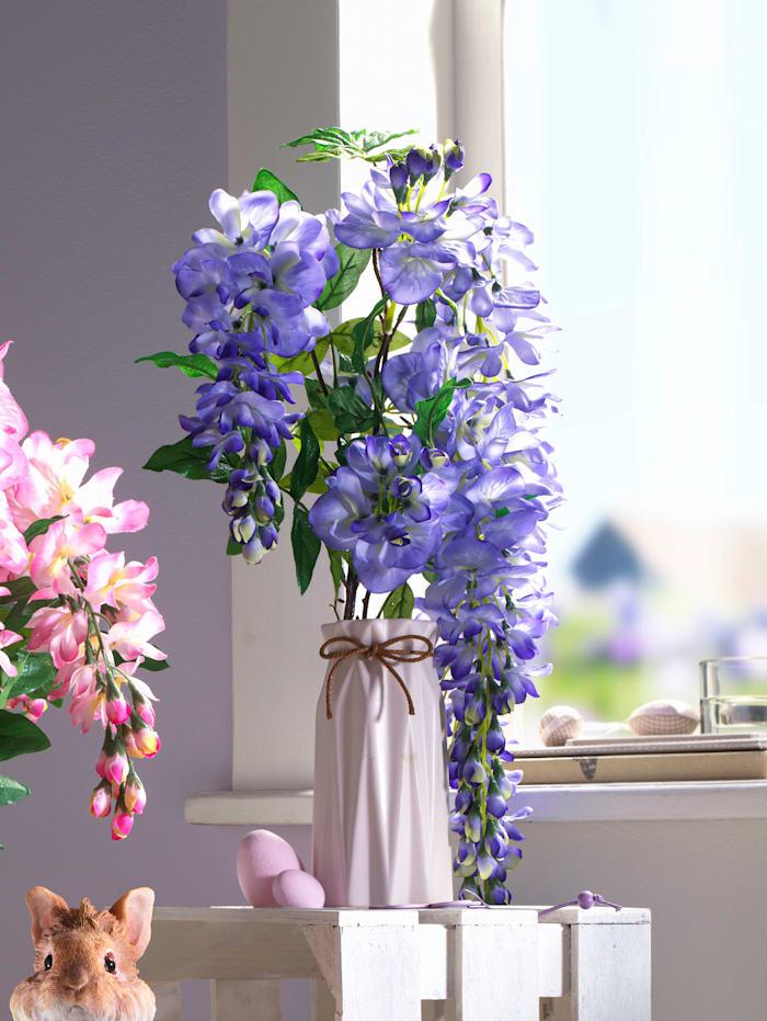 Goldregenstrauß in Vase, lila