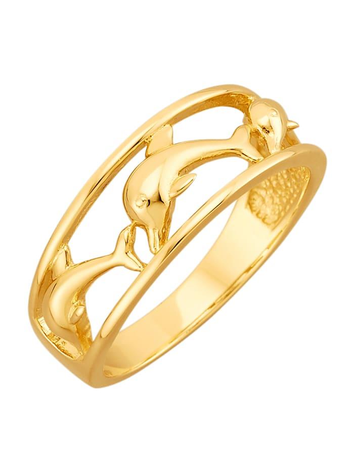 Amara Gold Delfin-Ring in Gelbgold 585, Gelbgoldfarben
