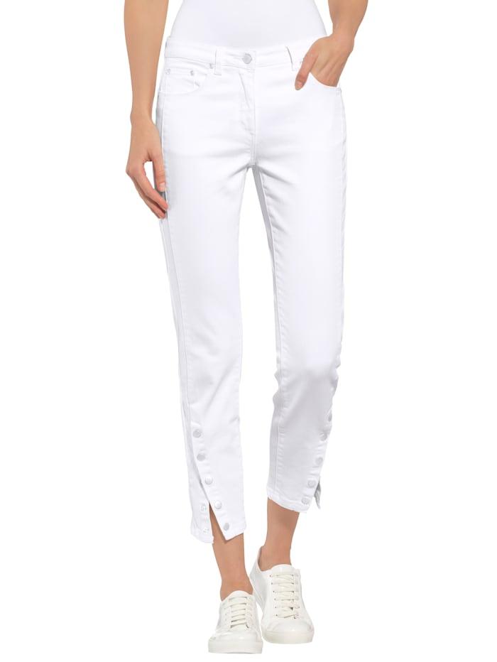 Alba Moda Skinny Fit Jeans mit Druckknöpfen am Saum, Weiß