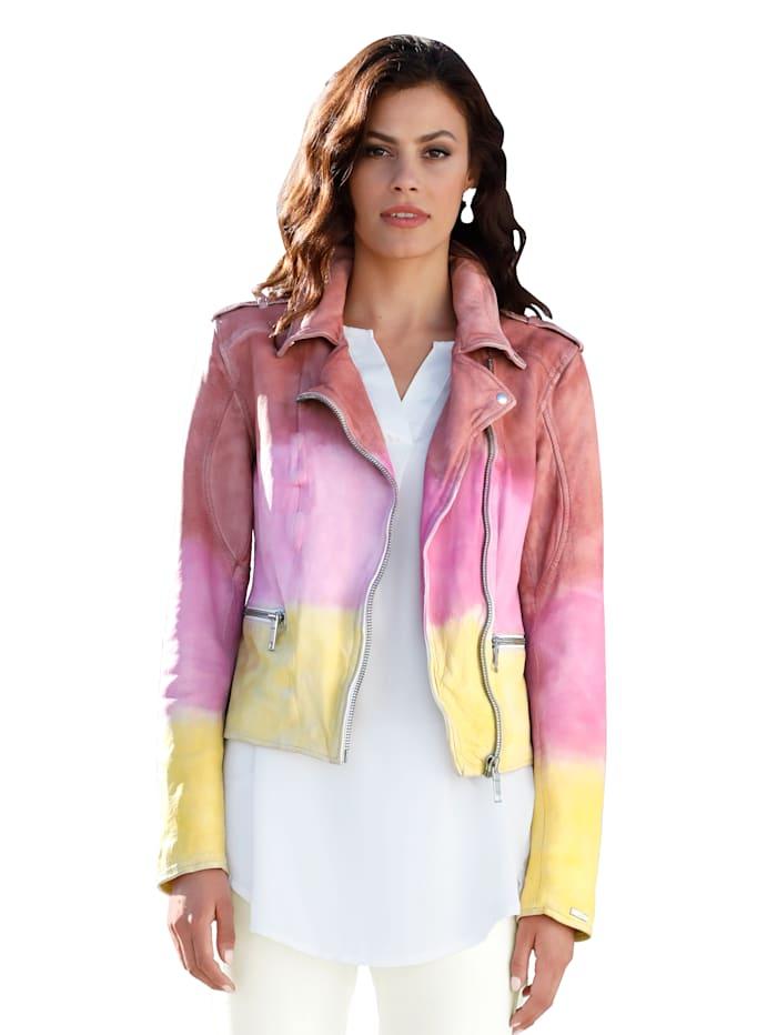 Maze Leren jasje met kleurverloop, Multicolor
