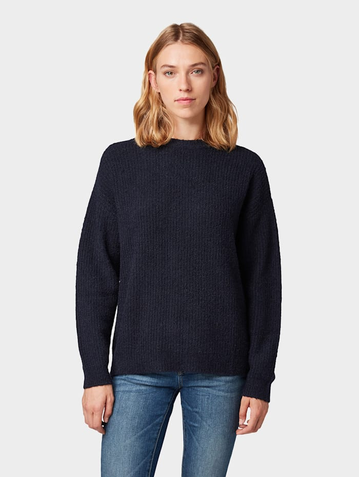 Tom Tailor Pullover in Rippoptik, Sky Captain Blue