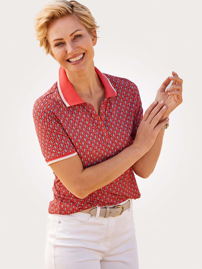 MONA Poloshirt mit modern interpretiertem Paisley- Print, Koralle/Rot/Weiß