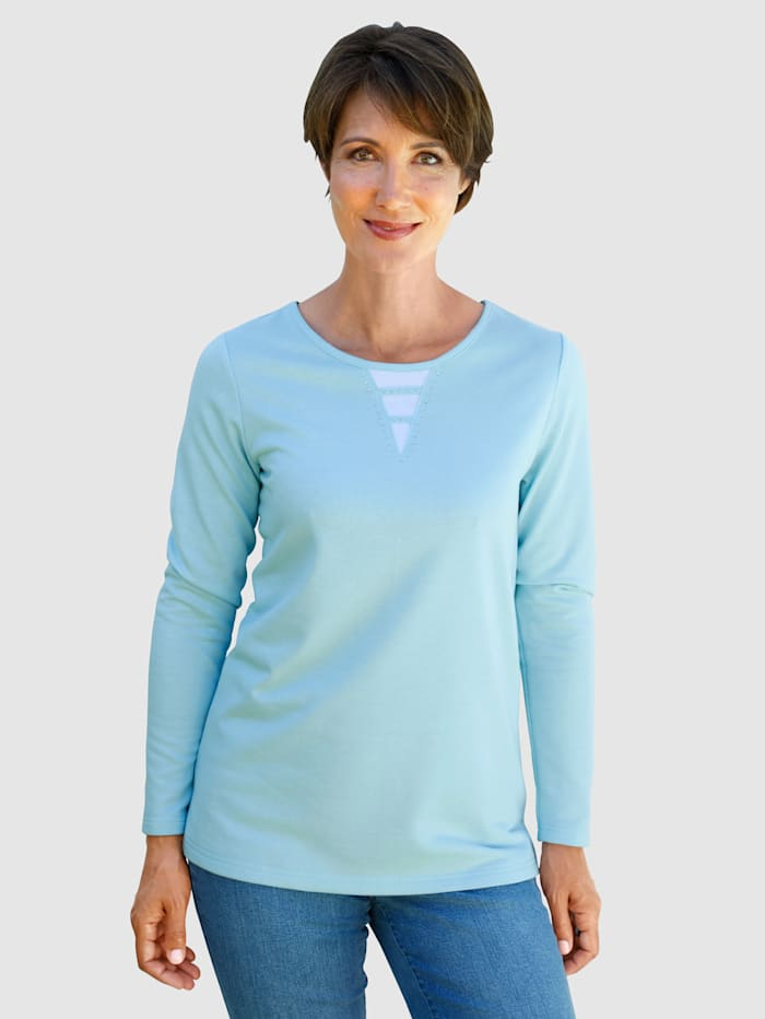 Paola Sweatshirt mit Strasssteinen, Hellblau