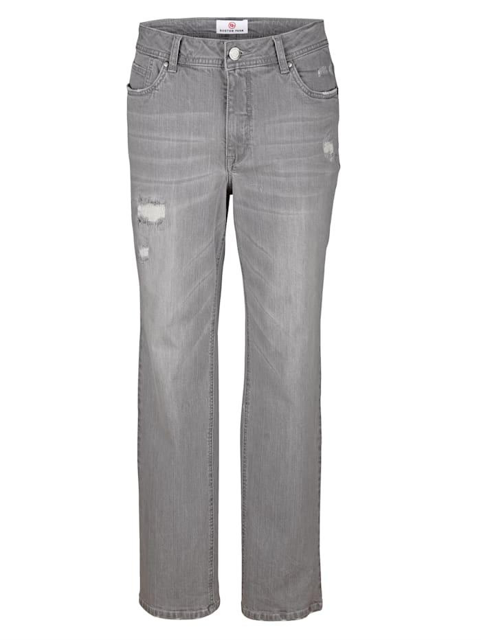 Boston Park 5-Pocket Jeans im Destroyed Look, Grau