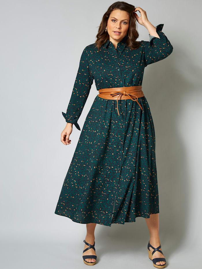 Sara Lindholm Maxi-jurk met animalprint, Petrol/Beige