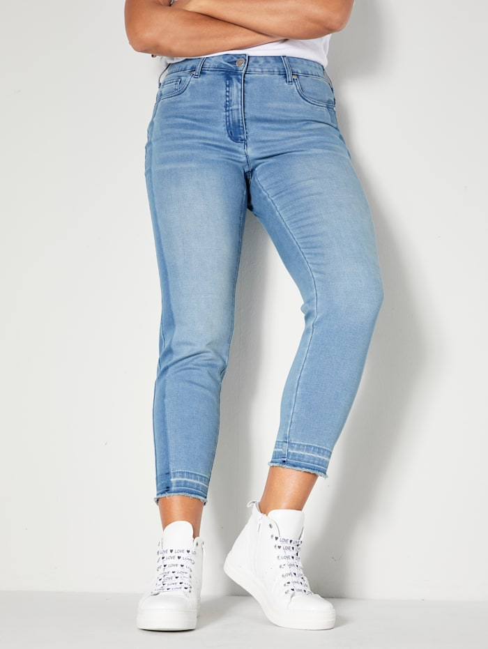 Angel of Style Jeans mit dunklem Streifen seitlich, Blue stone