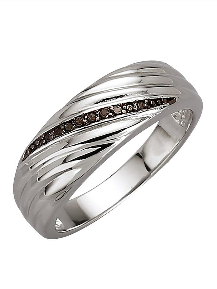 Damenring mit schwarzen Diamanten, Silberfarben