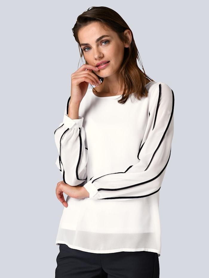 Alba Moda Bluse mit kontrastfarbigen Paspeln, Off-white/Schwarz