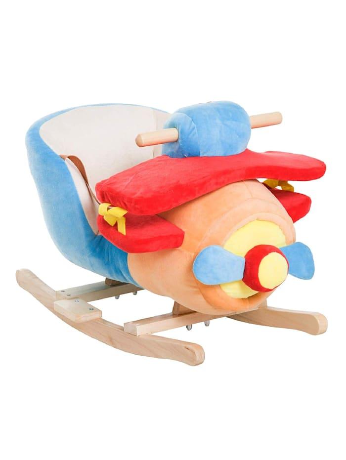 HOMCOM Schaukelspielzeug als Flugzeug, blau, rot, orange
