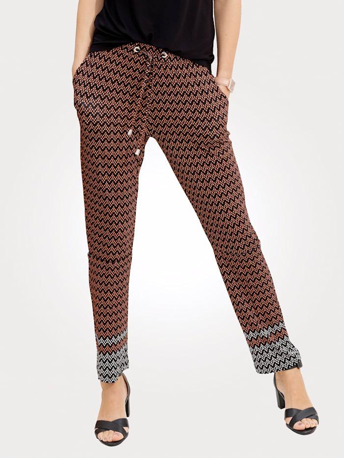 MONA Pantalon à imprimé ethnique tendance, Noir/Brique