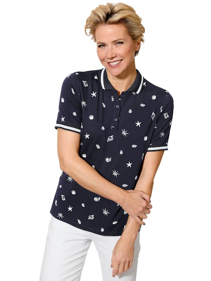 MONA Poloshirt mit Maritimem Druck, Marineblau/Weiß