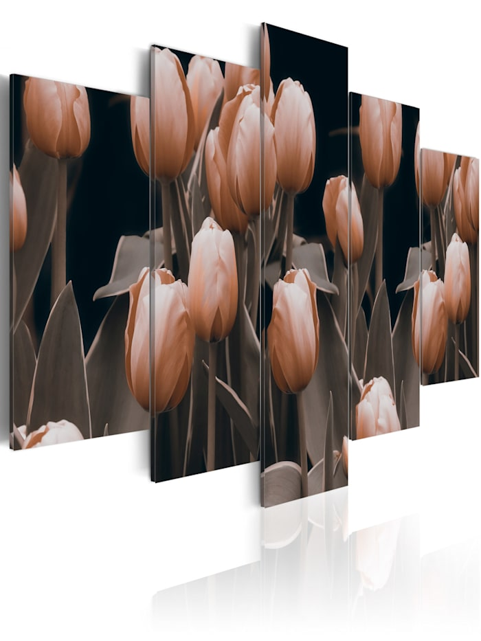 artgeist Wandbild Tulpen in Sepia, rosa,Schwarz,Braun