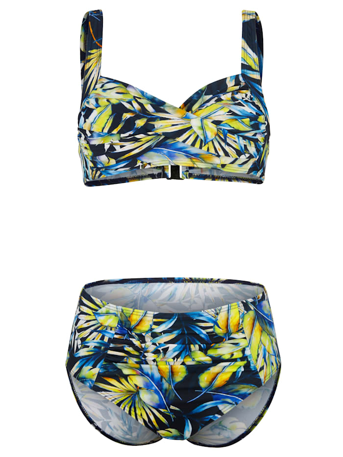 Maritim Bikini med omlottdesign, Marinblå/Grön/Gul