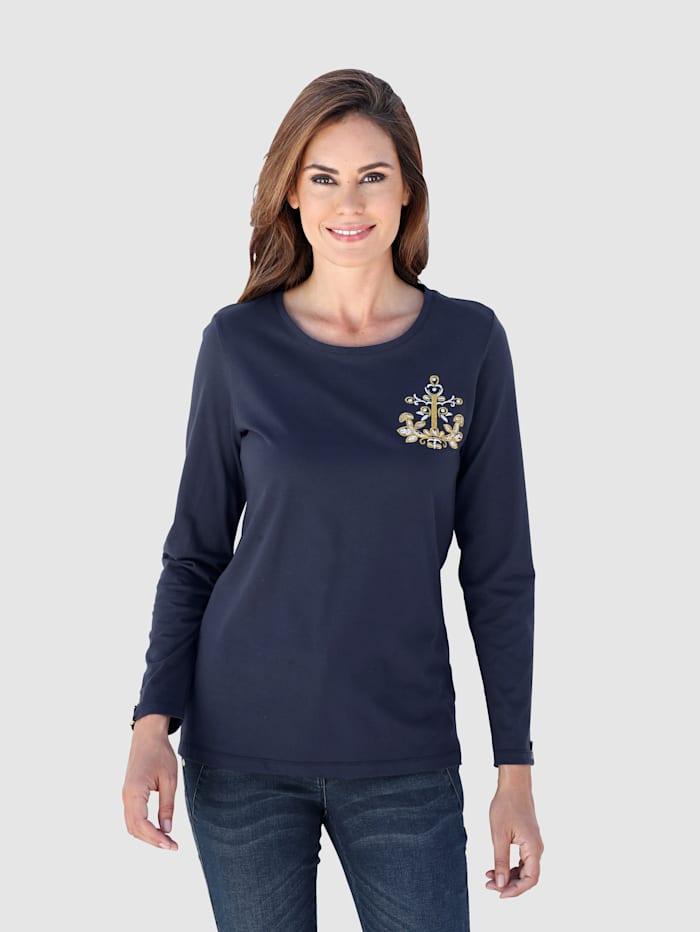 Laura Kent Shirt met goudkleurige details, Marine