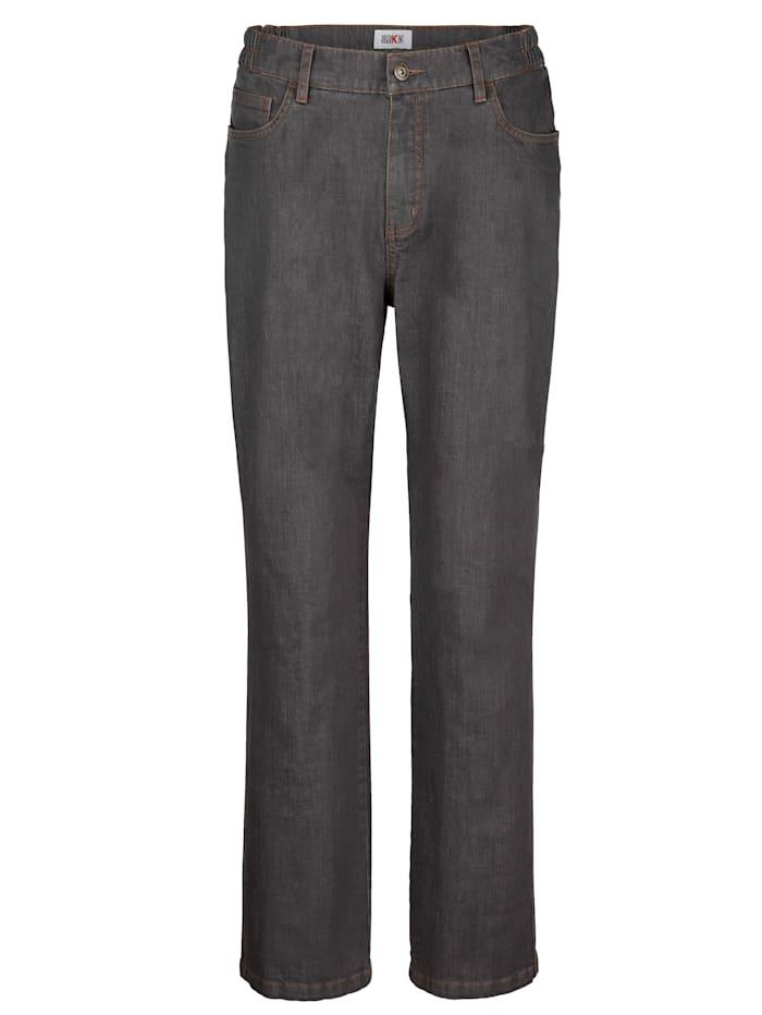 Roger Kent Jeans met elastische bandinzetten opzij, Grijs