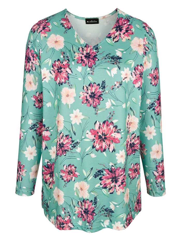 m. collection Pletené tričko s kvetinovým vzorom, Zelená/Pink