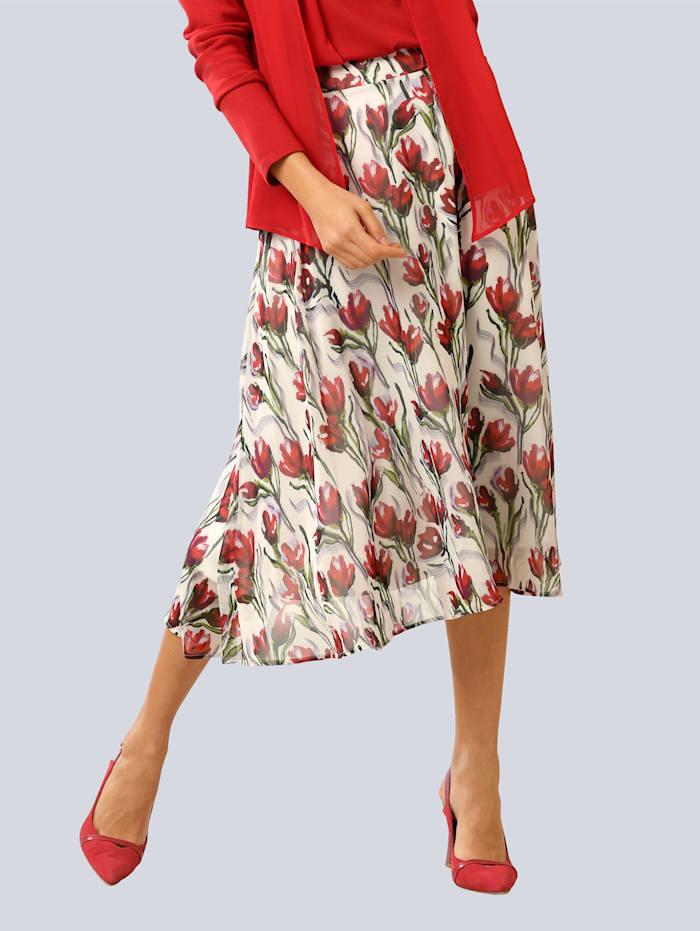 Alba Moda Rock im floralem Dessin, Weiß/Rot