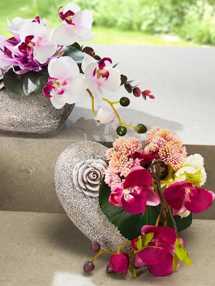 Orkidé på hjerte, flerfarget