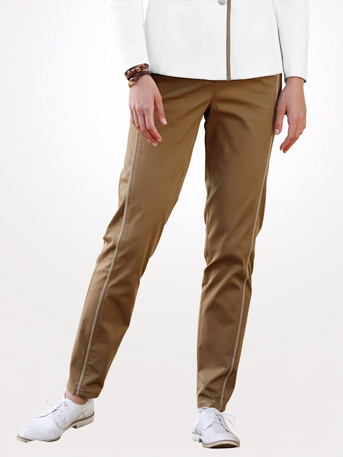 MONA Trousers with faux leather front crease, Light Brown