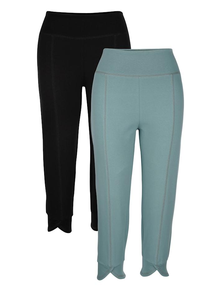 Blue Moon Sportovní kalhoty s přestřiženými náplety, Tyrkysová/Černá