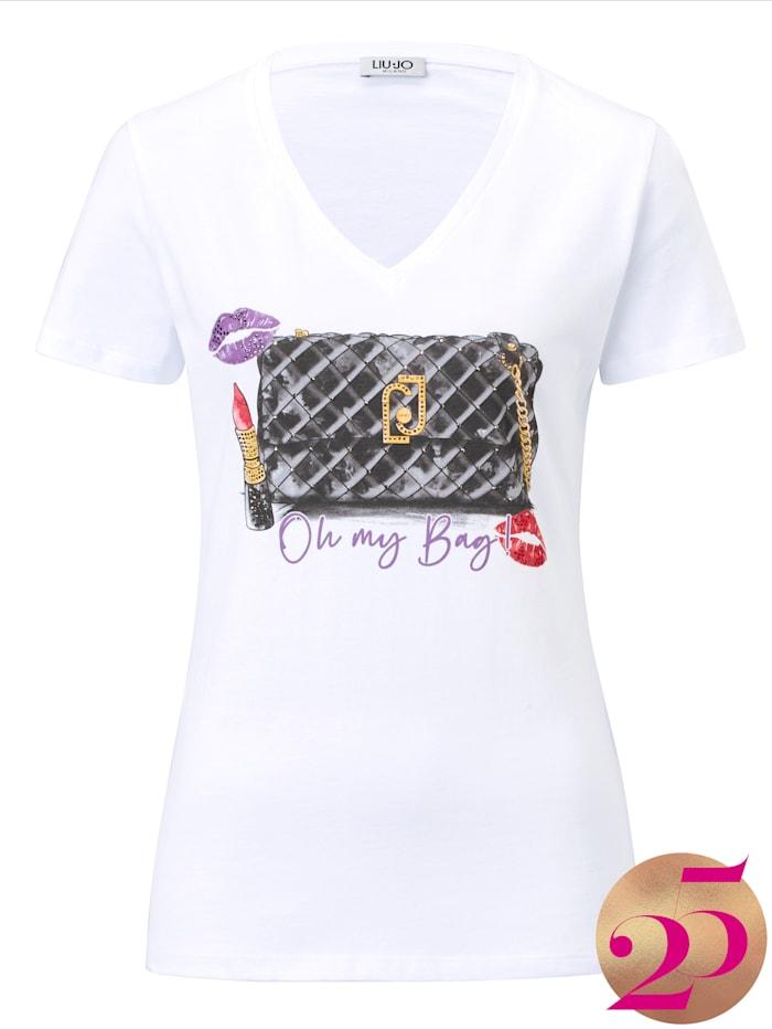 LIU JO T-Shirt mit Aufdruck, Jubiläumskollektion, Off-white