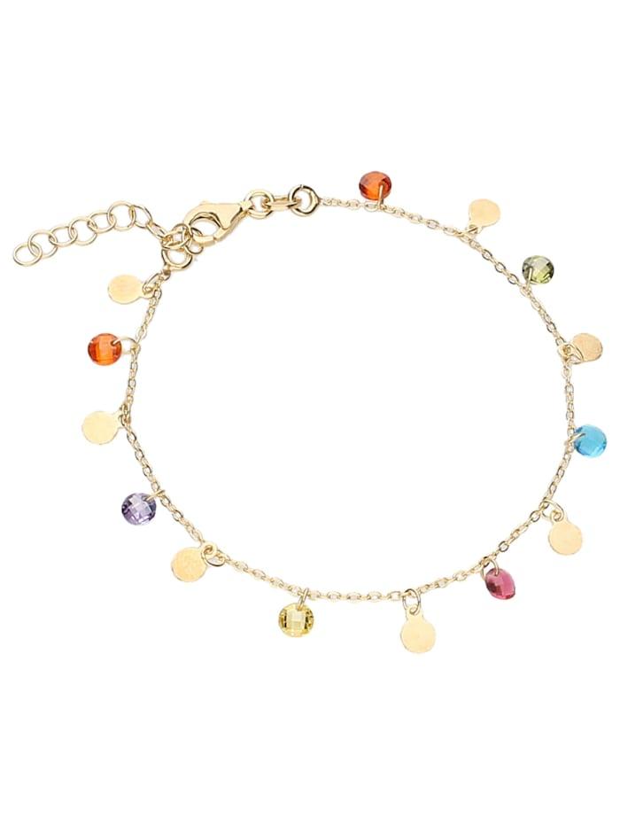 Smart Jewel Armband bunte Zirkonia Steine und Plättchen, Silber 925, Gold