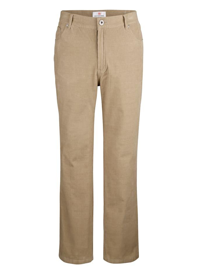 Boston Park Pantalon en velours côtelé de coupe 5 poches, Sable