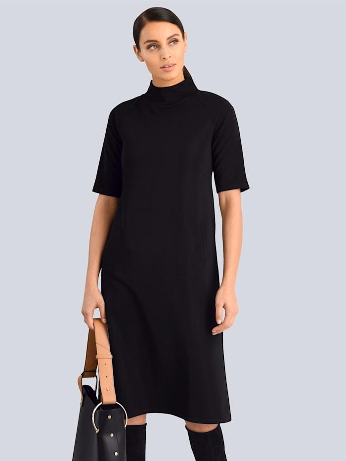 Alba Moda White Kleid mit kleinem Stehkragen, Schwarz