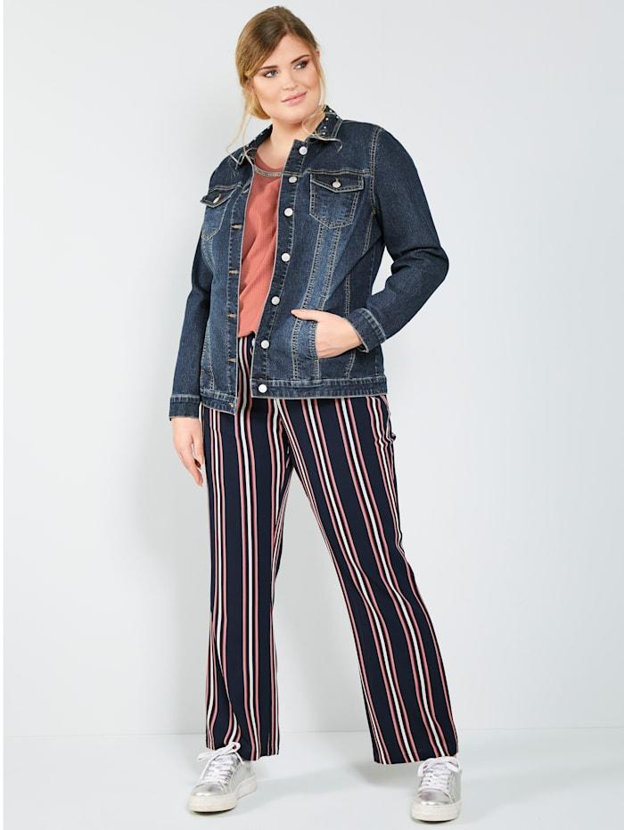 Jeansjacke mit dekorativen Nieten am Kragen