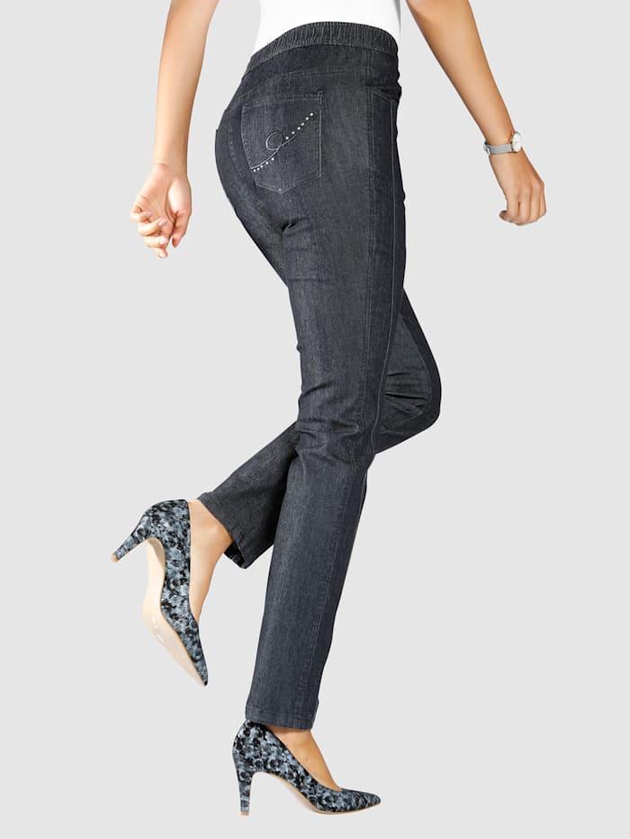 m. collection Jeans med stenar och broderi på bakfickorna, Svart