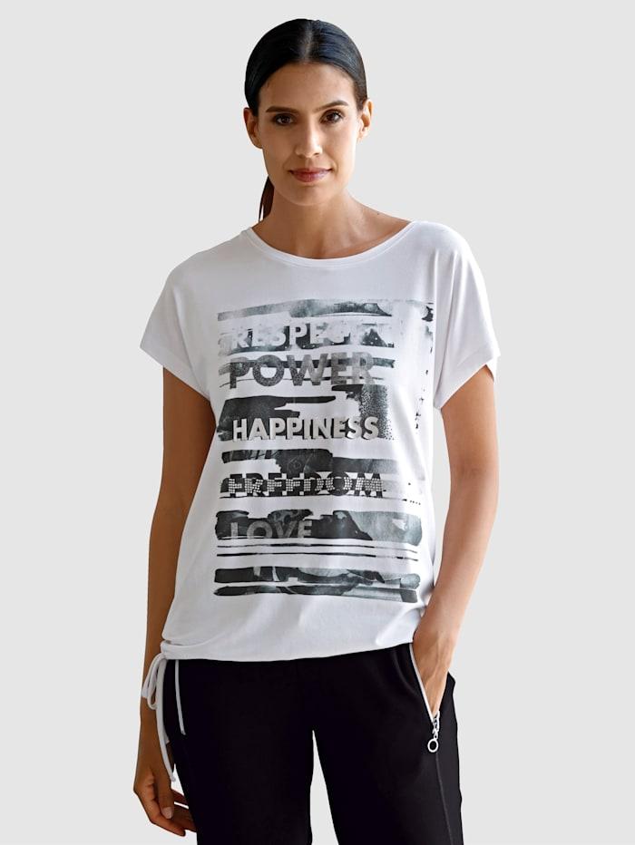 Laura Kent Shirt mit platziertem Druck und Steinchen im Vorderteil, Weiß