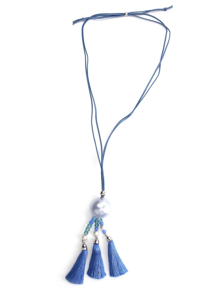 Collezione Alessandro Lange Kette Saskia mit modischen Quasten, blau