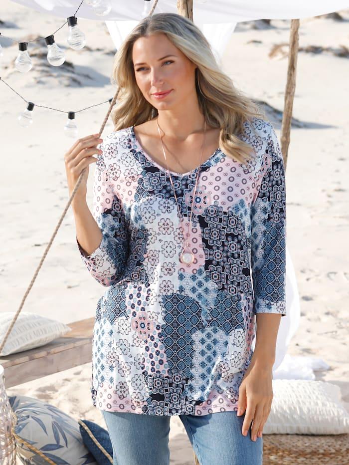 MIAMODA Shirt im angesagtem Mustermix, Blau/Weiß/Rosé