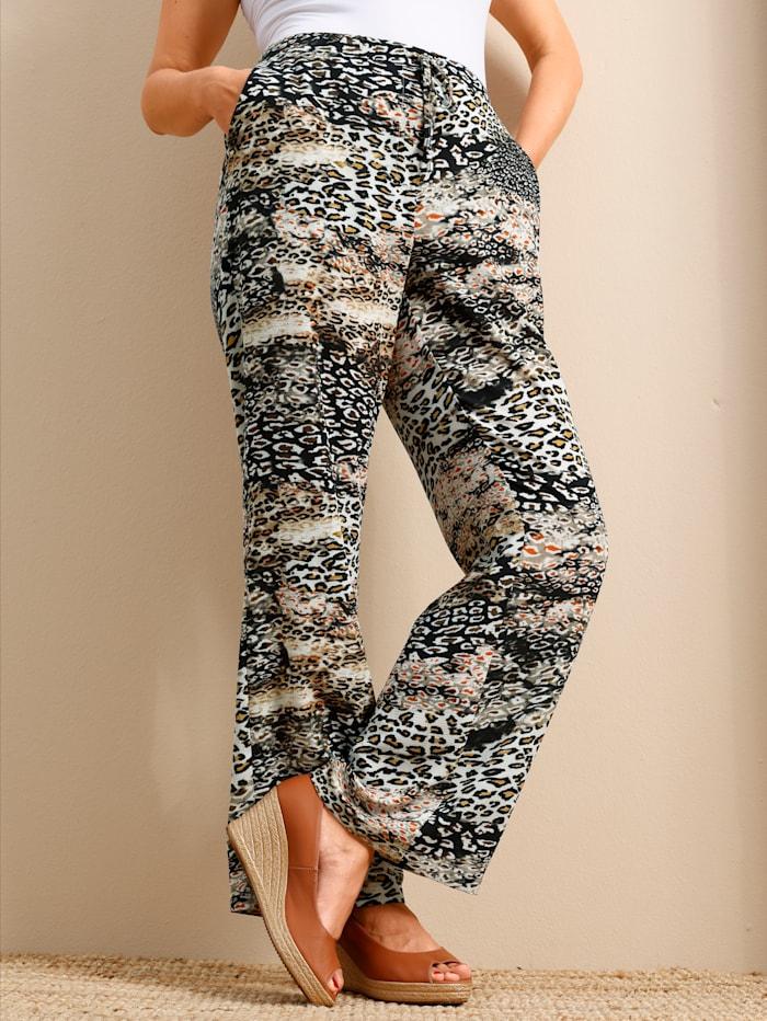 MIAMODA Hose mit modischem Animalprint, Beige/Schwarz/Creme-Weiß