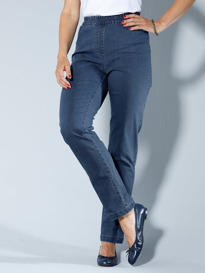 MIAMODA Jean taille extensible confortable, Blue bleached