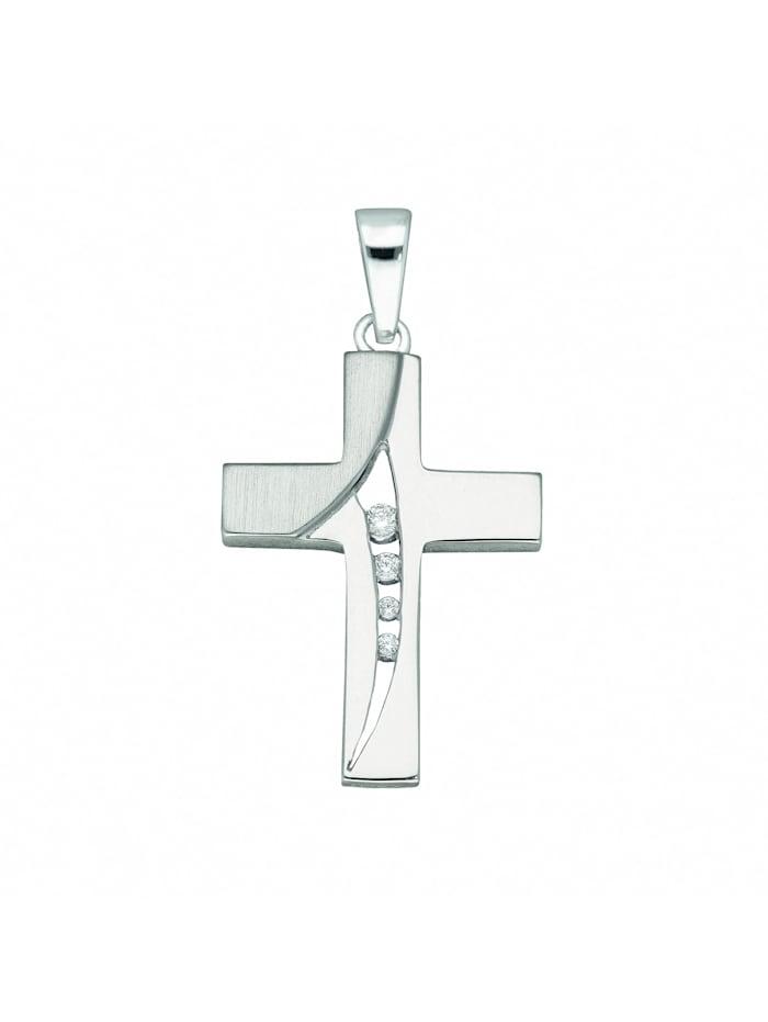1001 Diamonds Damen & Herren Silberschmuck 925 Silber Kreuz Anhänger mit Zirkonia, silber