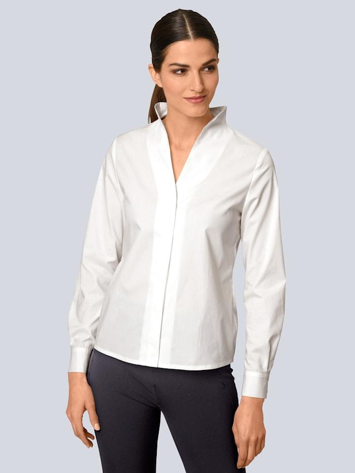 Alba Moda Bluse mit Kelchkragen, Weiß
